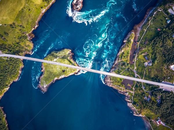 Norvégia légifelvétel gyönyörű természet kicsi egy Stock fotó © cookelma