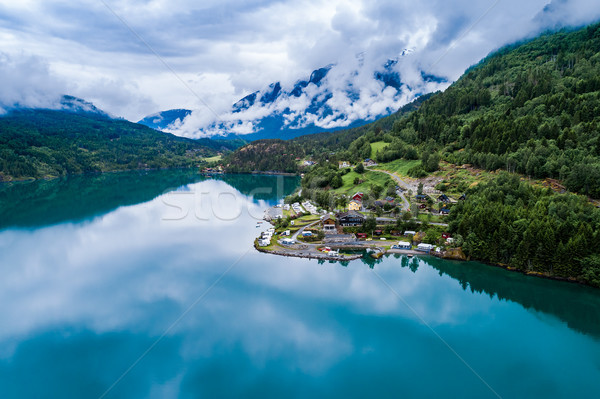 Beautiful Nature Norway Aerial view of the campsite to relax. Stock photo © cookelma