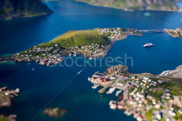 Panoráma szigetvilág nem Norvégia természet tájkép Stock fotó © cookelma