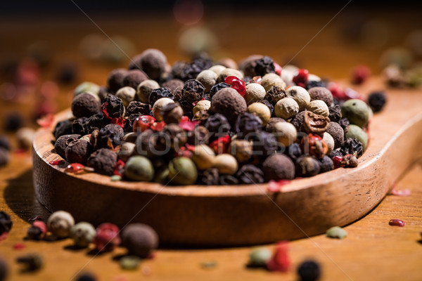 Mixed peppercorns. Dry mix peppercorns close up Stock photo © cookelma