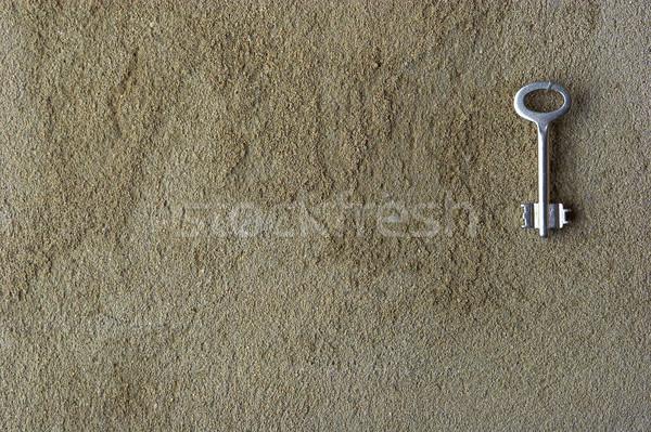 Iron key on a concrete wall  Stock photo © cookelma