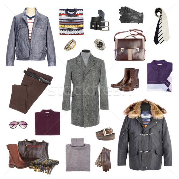 Tél ruházat fehér iroda divat férfiak Stock fotó © cookelma