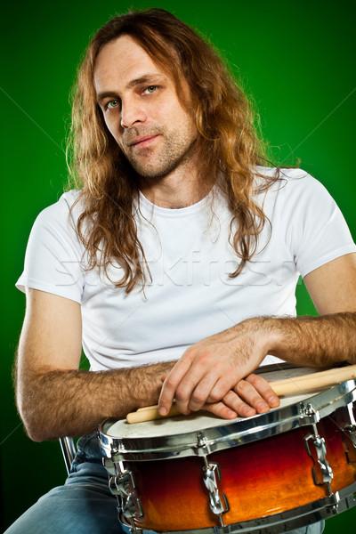 鼓手 男子 肖像 綠色 手 男子 商業照片 © cookelma