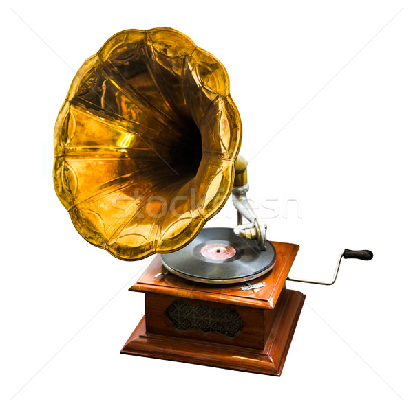 Gramofon beyaz ahşap bağbozumu antika eski Stok fotoğraf © cookelma