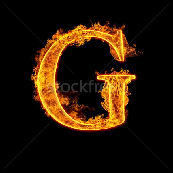 Fire alphabet letter G Stock photo © cookelma