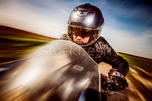Motoros versenyzés út sisak bőrdzseki égbolt Stock fotó © cookelma