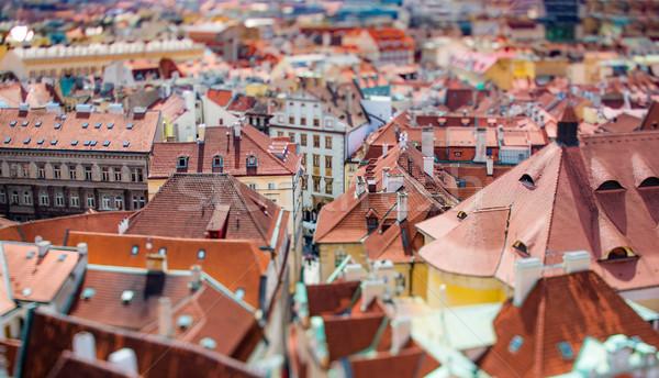 Praga ver cidade acima mudança lente Foto stock © cookelma