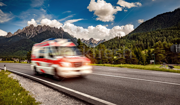 Ambulance van rushes down the highway Stock photo © cookelma