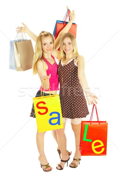 Zdjęcia stock: Dwa · dziewcząt · torby · porównanie · zakupy · sprzedaży
