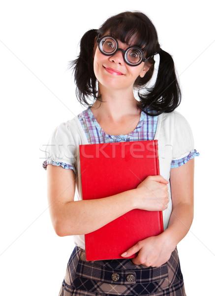 Inek öğrenci öğrenci kız ders kitapları beyaz gülümseme Stok fotoğraf © cookelma