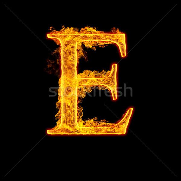 Fire alphabet letter E Stock photo © cookelma