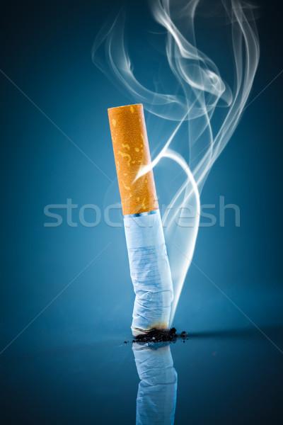 Cigaretta fenék dohányozni tilos kék füst dohányzás Stock fotó © cookelma