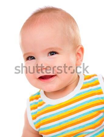 Mutlu küçük bebek yalıtılmış beyaz gülümseme Stok fotoğraf © cookelma