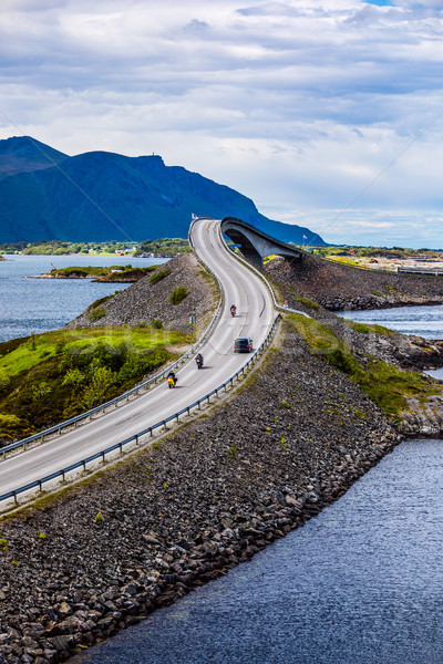 Atlantic Ocean Road Two bikers on motorcycles. Stock photo © cookelma