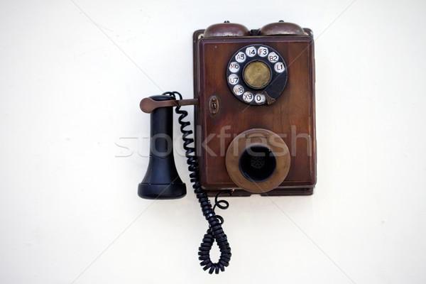 レトロな 電話 白 壁 電話 背景 ストックフォト © cookelma