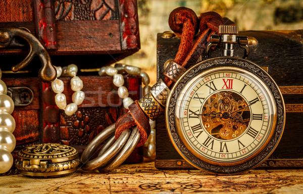 ヴィンテージ 懐中時計 アンティーク グランジ 静物 背景 ストックフォト © cookelma