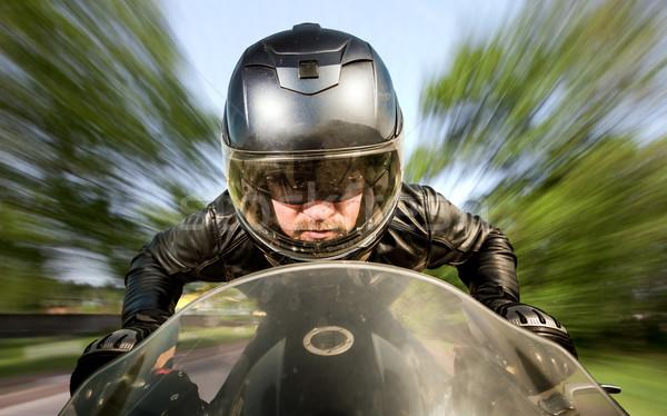 Motoros versenyzés út sisak bőrdzseki férfi Stock fotó © cookelma