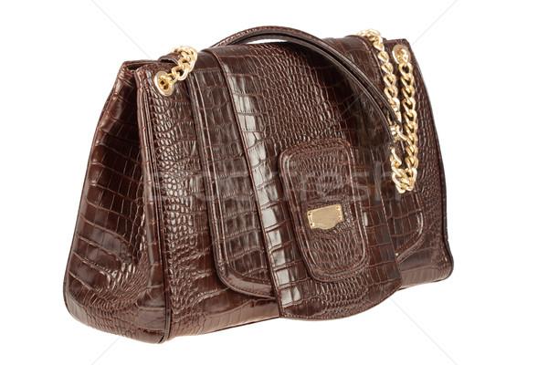 Handtas vrouwelijke leder witte zak stijl Stockfoto © cookelma