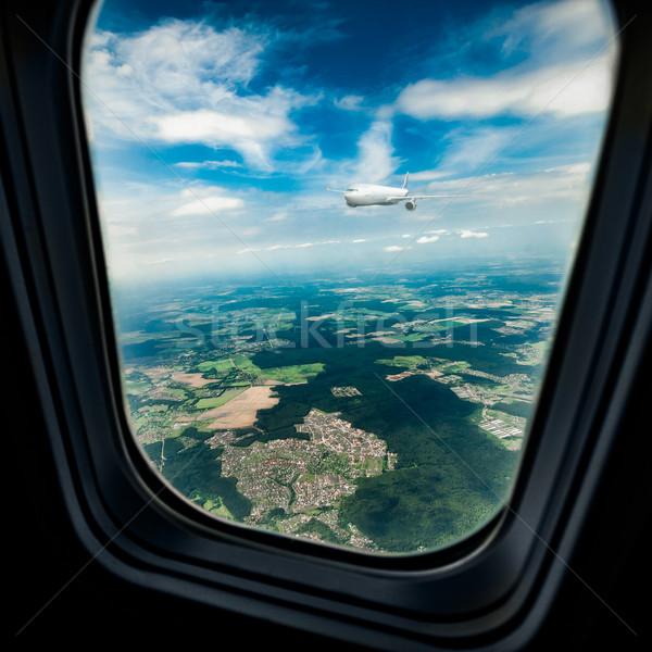 Repülőgép ablak klasszikus kép repülőgép repülőgép Stock fotó © cookelma