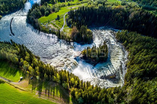 Vízesés western egy gyönyörű vízesések Svédország Stock fotó © cookelma