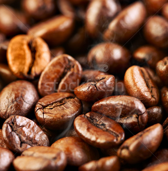 Granos de café fragante frito humo Servicio vida Foto stock © cookelma