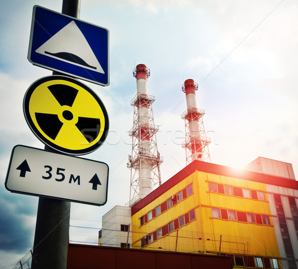 Nuclear Power Plant with Radioactivity Sign Stock photo © cookelma