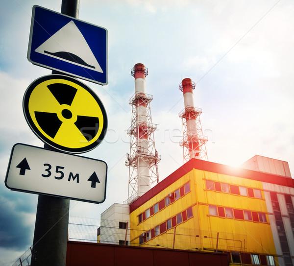 Nükleer elektrik santralı radyoaktivite imzalamak fabrika enerji Stok fotoğraf © cookelma
