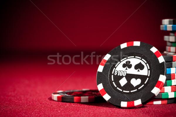 Juego chips casino espacio de la copia mesa póquer Foto stock © cookelma