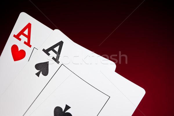 ászok piros játék játékok hazárdjáték pár Stock fotó © cookelma