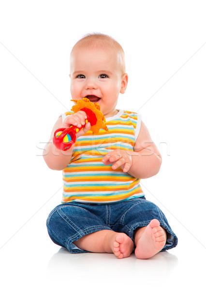 Gelukkig weinig baby geïsoleerd witte glimlach Stockfoto © cookelma