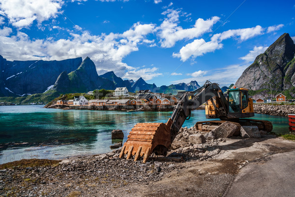 Kotrógép buldózer javítás munka út Norvégia Stock fotó © cookelma