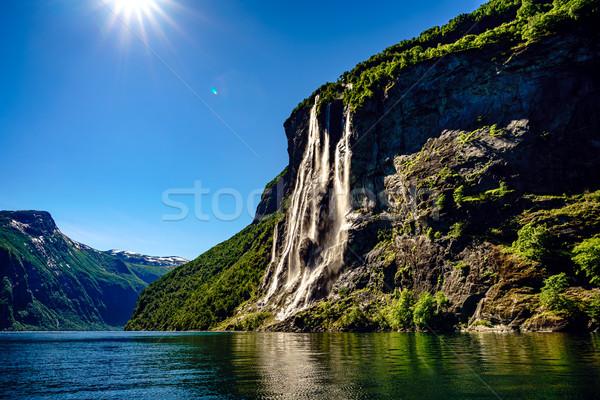 Vízesés hét nővérek gyönyörű természet természetes Stock fotó © cookelma