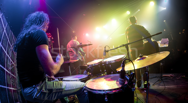 Muzikanten spelen fase trommelaar voorgrond muziek Stockfoto © cookelma