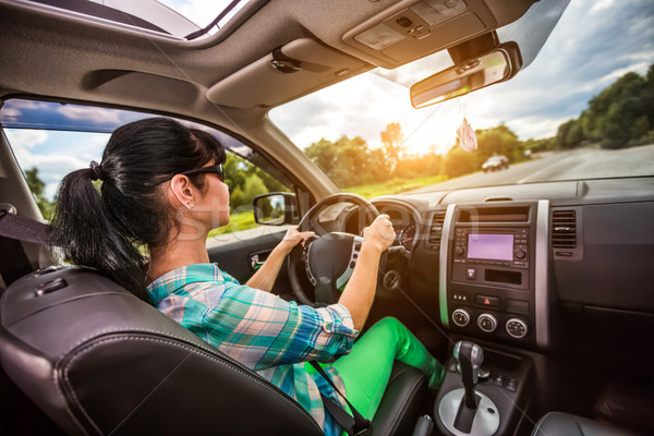 Woman behind the wheel of a car. Stock photo © cookelma