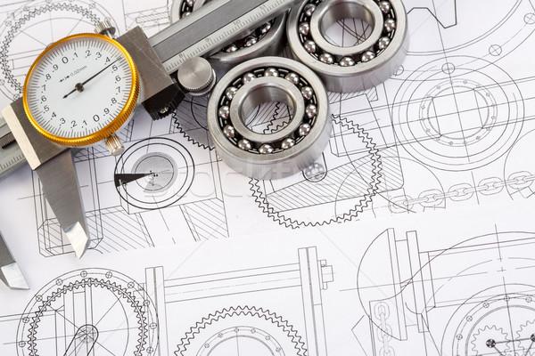 Top teknik çizim çizimler ofis inşaat Stok fotoğraf © cookelma