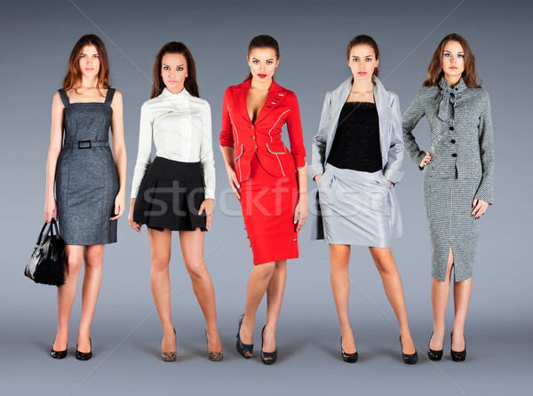 Five girls in different clothes, spring summer collection clothe Stock photo © cookelma