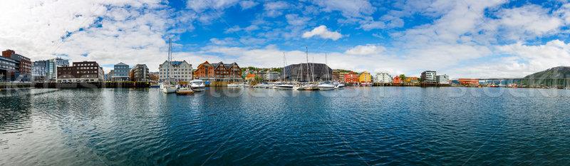 Kilátás marina észak Norvégia város világ Stock fotó © cookelma
