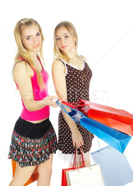 Dois meninas sacos comparação compras venda Foto stock © cookelma