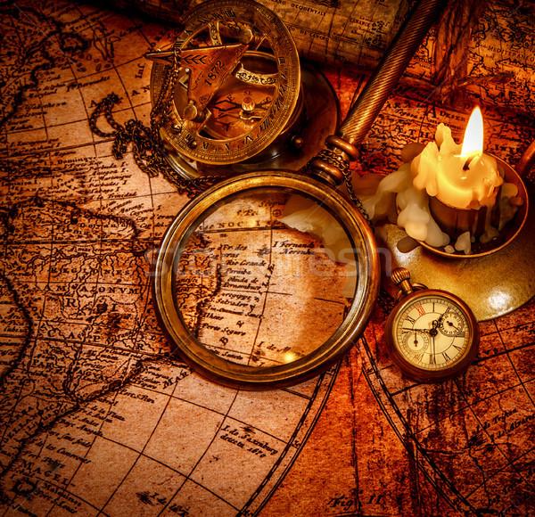 Bağbozumu natürmort eski harita Stok fotoğraf © cookelma