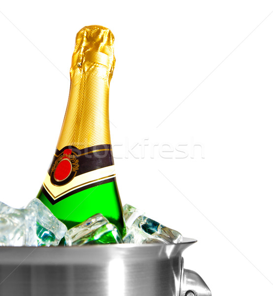 isolated champagne bottle in ice Stock photo © cookelma