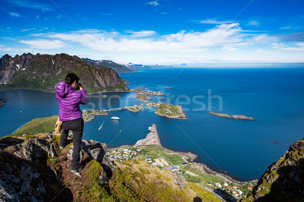 Nature photographer Norway Lofoten archipelago. Stock photo © cookelma
