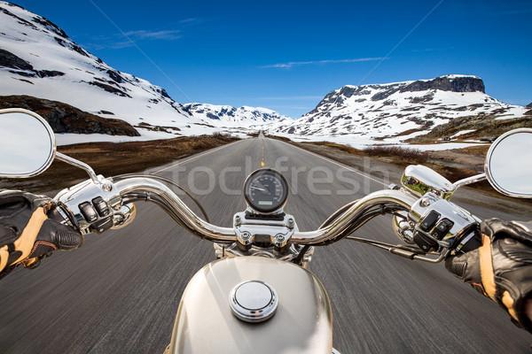 Görmek sürücü motosiklet asfalt yol Stok fotoğraf © cookelma