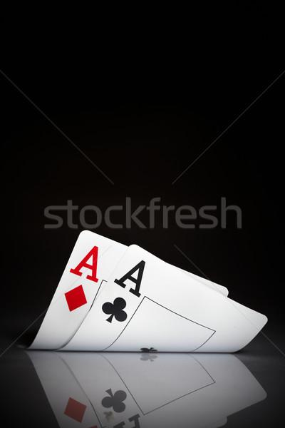 ászok fekete játék játékok hazárdjáték pár Stock fotó © cookelma