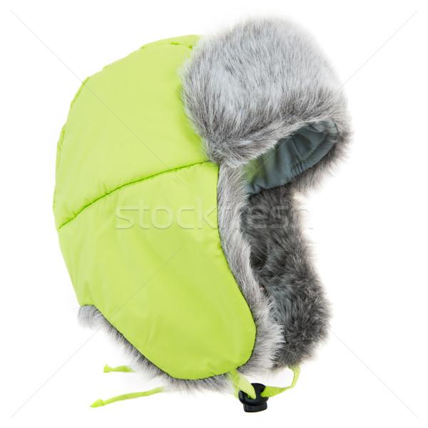 毛皮 キャップ 白 ファッション 背景 ストックフォト © cookelma