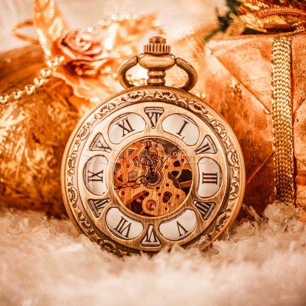 Navidad reloj de bolsillo naturaleza muerta fiesta nieve metal Foto stock © cookelma