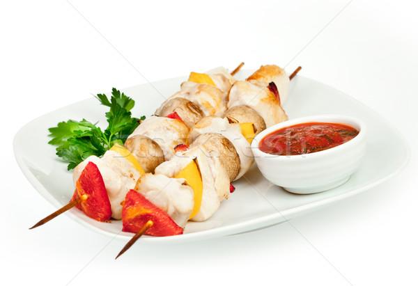 Frito piezas gallina salsa blanco pollo Foto stock © cookelma