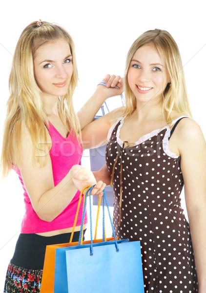 Zwei Mädchen Taschen Vergleich Warenkorb Verkauf Stock foto © cookelma