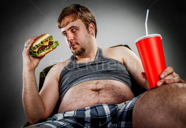 Grubas jedzenie hamburger fotel stylu Zdjęcia stock © cookelma