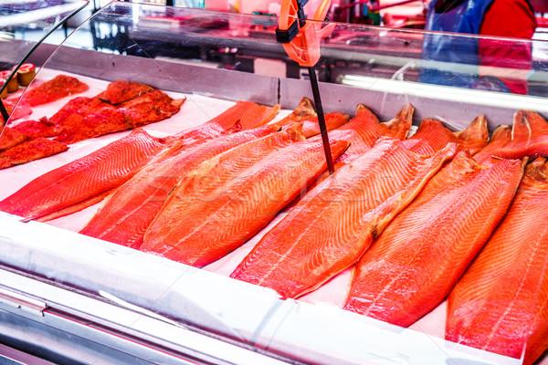 Zeevruchten vis markt Noorwegen zee Stockfoto © cookelma