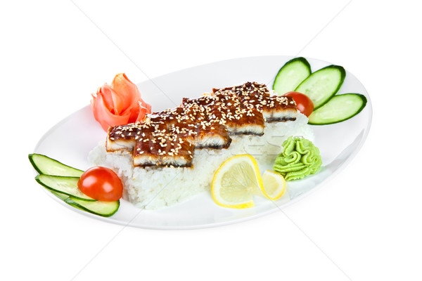 Sashimi japonais cuisine blanche poissons cuisine Photo stock © cookelma